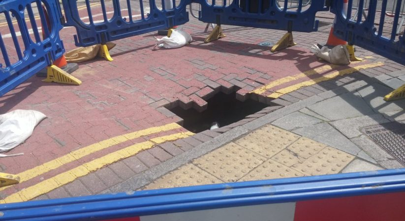 Sinkhole opens up near Haymarket
