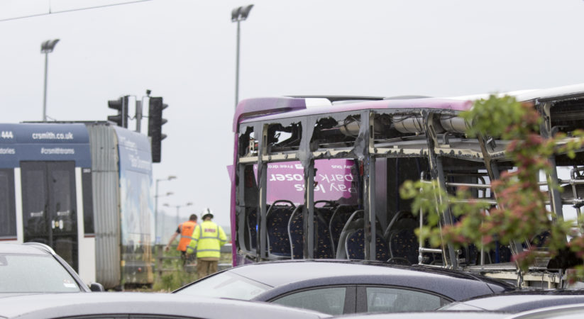 Tram derailed following collision with bus near Edinburgh Airport