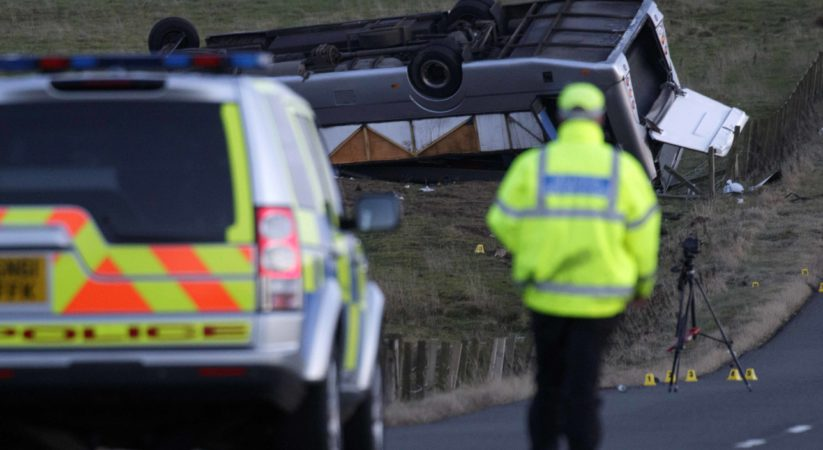 One dead as bus travelling from Newtongrange overturns in Scottish Borders