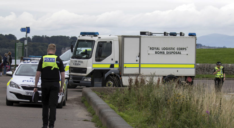 Controlled explosion carried on antique fire extinguishers